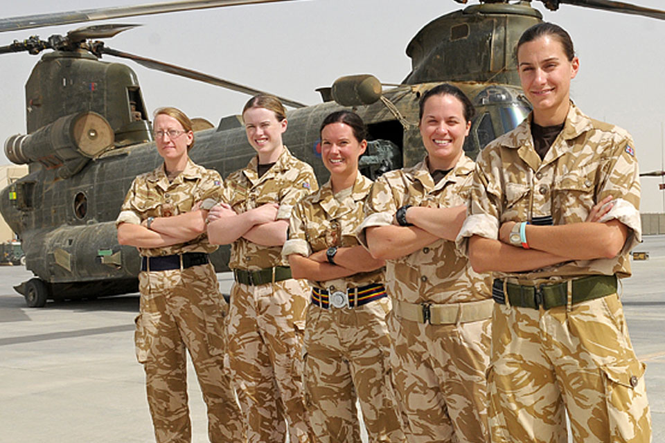 The female officers of the tri-Service engineering team - from right to left: Flight Lieutenant Laura Morfee, Captain Charlotte Joyce, Captain Kate Redfern, Flight Lieutenant Katie Muldoon and Lieutenant Nicki Wallace