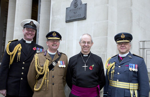 The service chaplains with the Archbishop of Canterbury outside MOD Main Building [Picture: Petty Officer (Photographer) Derek Wade, Crown copyright]