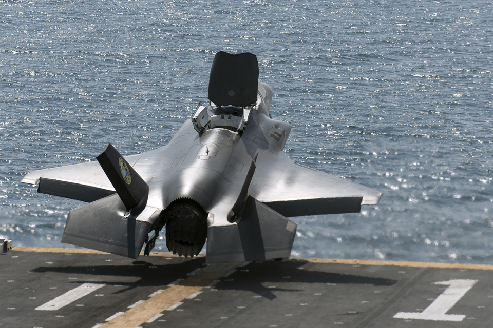 An F-35B Lightning II jet takes off from the USS Wasp
