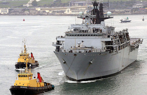 HMS Bulwark leaving Plymouth