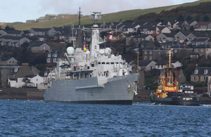 HMS Campbeltown leaves Campbeltown