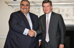 Foreign Office Minister Hugh Robertson with Minister for Foreign Affairs, HE Sheikh Khalid bin Ahmed bin Mohamed Al Khalifa