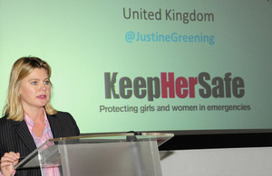 Justine Greening speaking at the #KeepHerSafe event. Picture: Sheena Ariyapala/DFID
