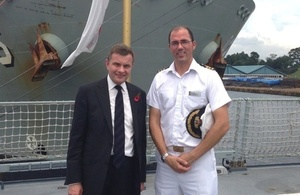 Welsh Secretary David Jones with Commanding Officer of HMS Daring, Commander Angus Essenhigh