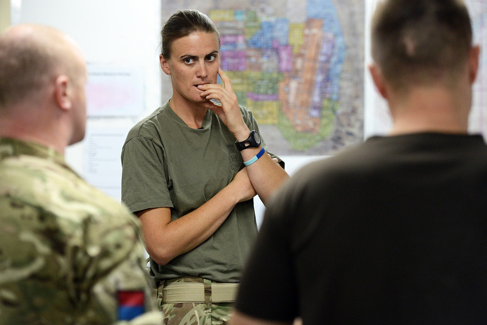 Captain Heather Stanning at work on military operations in Afghanistan