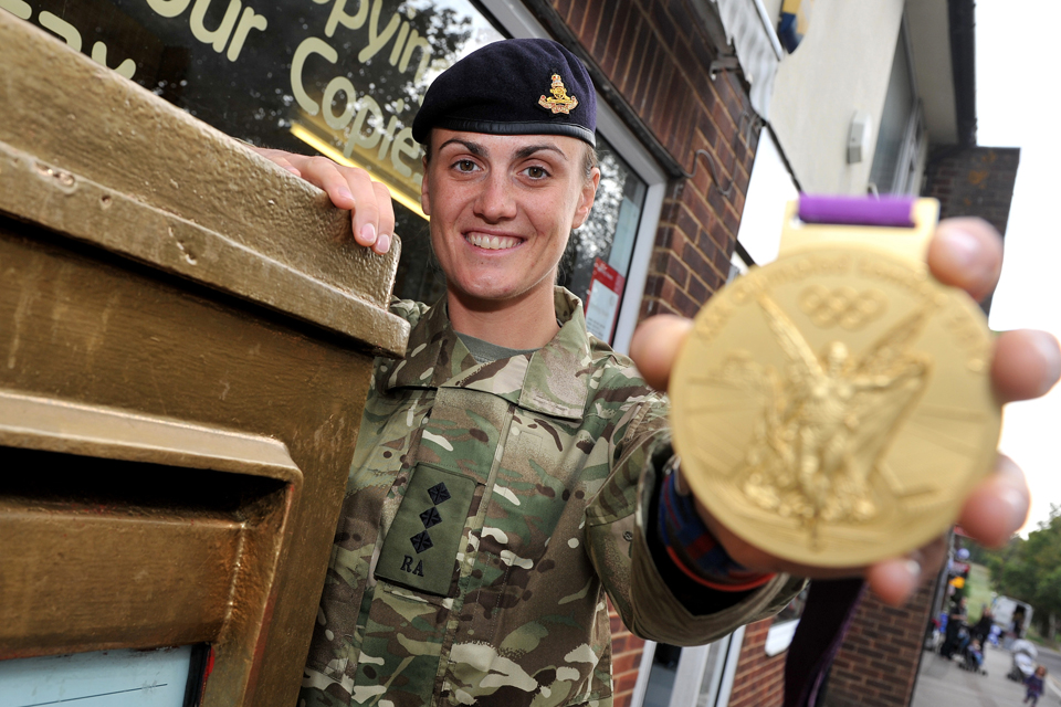 Captain Heather Stanning with her Olympic gold medal