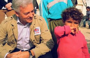 Alan Duncan pictured visiting Jordan's Zaatari refugee camp today. Photograph: Malinee Wanduragala/DFID
