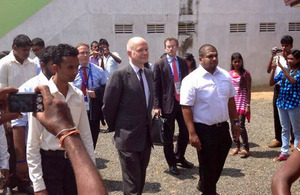 William Hague arriving at the reconciliation centre in Matara