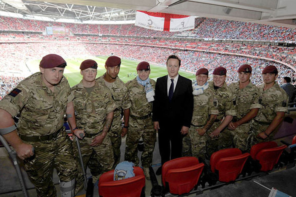 Soldiers from 16 Air Assault Brigade with Prime Minister David Cameron during the FA Cup Final at Wembley