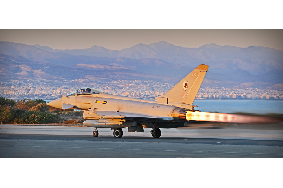 Typhoon jet takes off from RAF Akrotiri