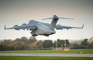 A C-17 departs RAF Brize Norton carrying UK aid for the Phillipines [Picture: Paul Crouch, Crown copyright]