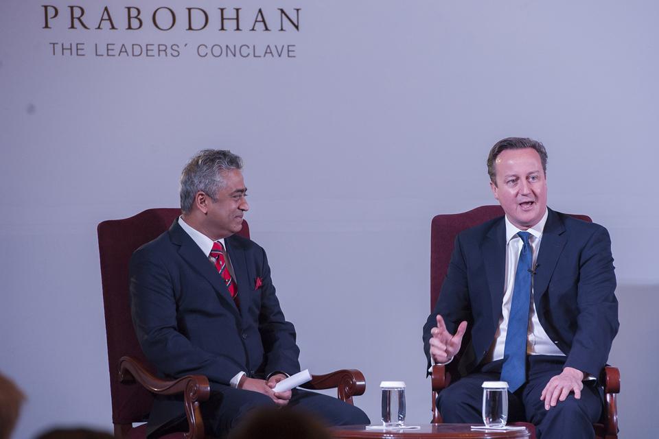 David Cameron speaking at Prabodhan Leaders Conclave.