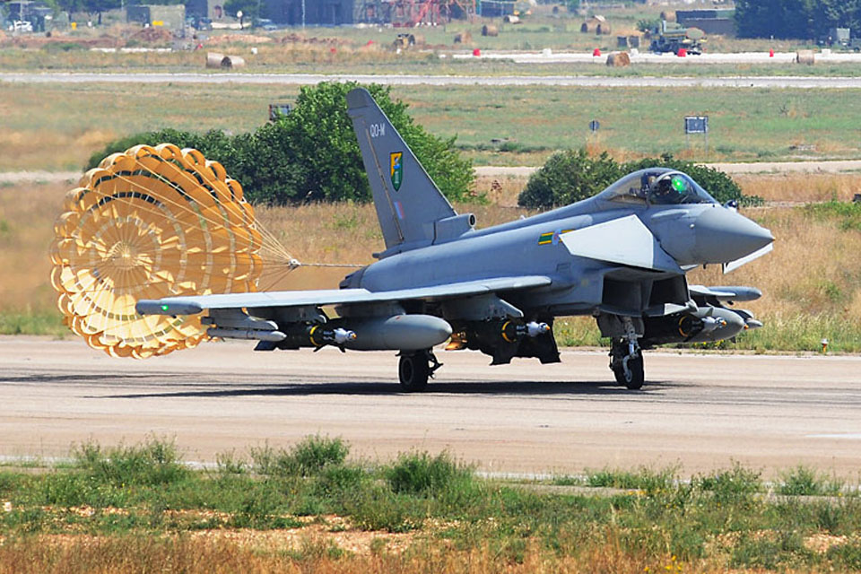 An RAF Typhoon from 3 (Fighter) Squadron with its brake chute deployed at Gioia del Colle air base in southern Italy