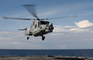 HMS Daring's Lynx helicopter [Picture: Able Seaman (Warfare Specialist) Chris Oldland, Crown Copyright]