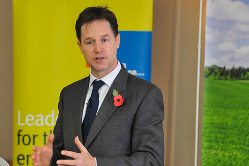 Nick Clegg delivers a speech.