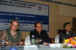 Bangladesh Bank Governor Dr Atiur Rehman and Vice President of the BGMEA Reaz Bin Mahmood joined DFID Bangladesh Country Representative Sarah Cooke at an event in Dhaka looking at how partnerships with buyers in the garment industry can help bring about m