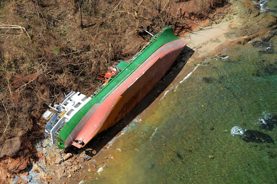 A ship lying on its side