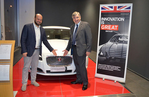 Consul General & Director UKTI Italy Vic Annells with Jaguar Italia Marketing Manager Federico Funaro at the Test & Taste Event in Milan on 15 November