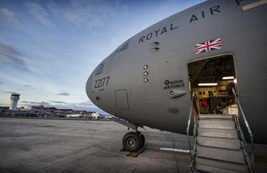 The Royal Air Force C-17 at Cebu Airport in the Philippines [Picture: Sergeant Ralph Merry ABIPP RAF, Crown copyright]