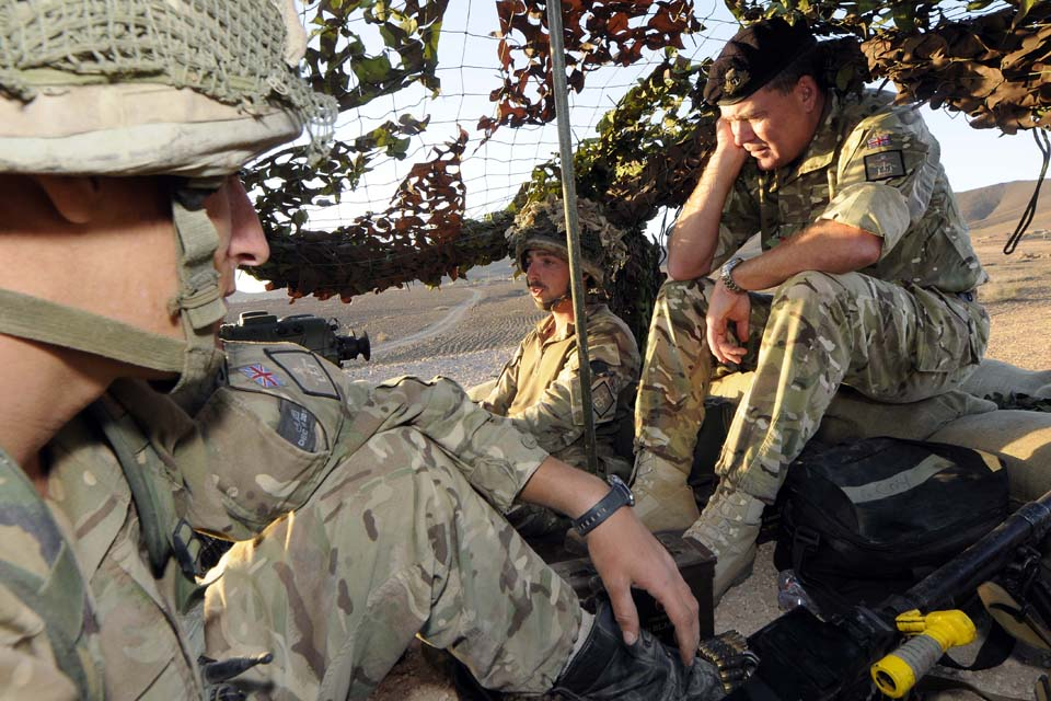 The Commander British Forces Gibraltar joins soldiers in a lookout tower