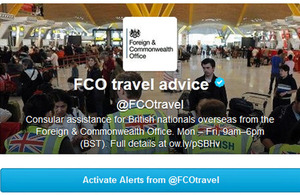 The @FCOtravel twitter alert page