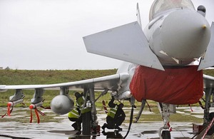 RAF ground crew prepare a Typhoon aircraft