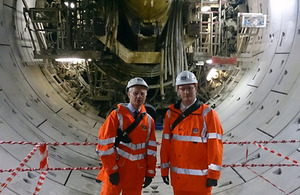 Deighton and Alexander in Crossrail tunnel at Farringdon