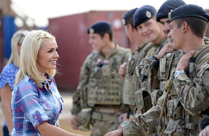 Katherine Jenkins meeting British Armed Forces personnel at Camp Bastion [Picture: Sergeant Dan Bardsley RLC, Crown copyright]