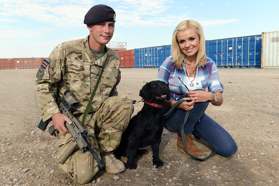 Katherine Jenkins with a military working dog team