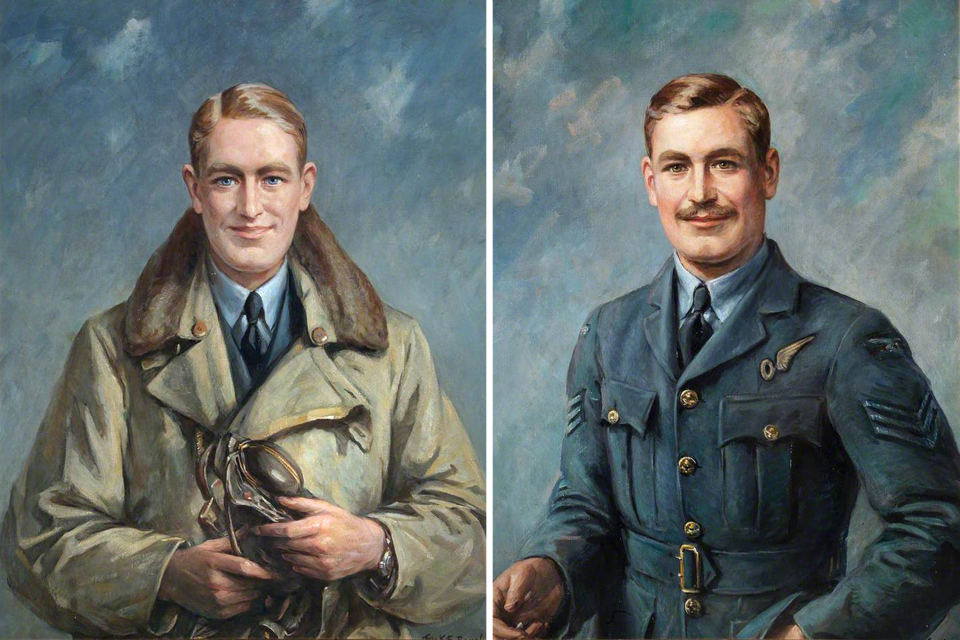 Portraits of Flying Officer Donald Garland VC (left) and Sergeant Thomas Gray VC