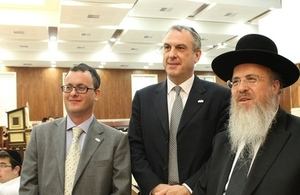 FCO Permanent Under Secretary Simon Fraser with British Ambassador to Israel Matthew Gould visiting a Yeshiva in Jerusalem