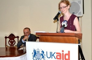 HE Victoria Dean, British High Commissioner delivering opening speech.