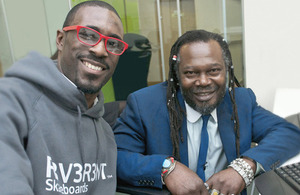 Dean Clarke with Levi Roots – Founder, Reggae Reggae Foods Ltd