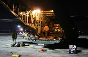 RAF C-130 aircraft arrives in Cebu. Picture: James Fulker/DFID.