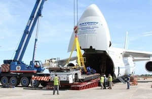 Vital cargo that will double the amount of aid that can flow through the Philippines' Cebu airport on an Antonov cargo plane chartered by the UK government. Picture: Russell Watkins/DFID