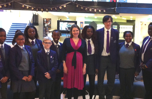 Jo Swinson with school children