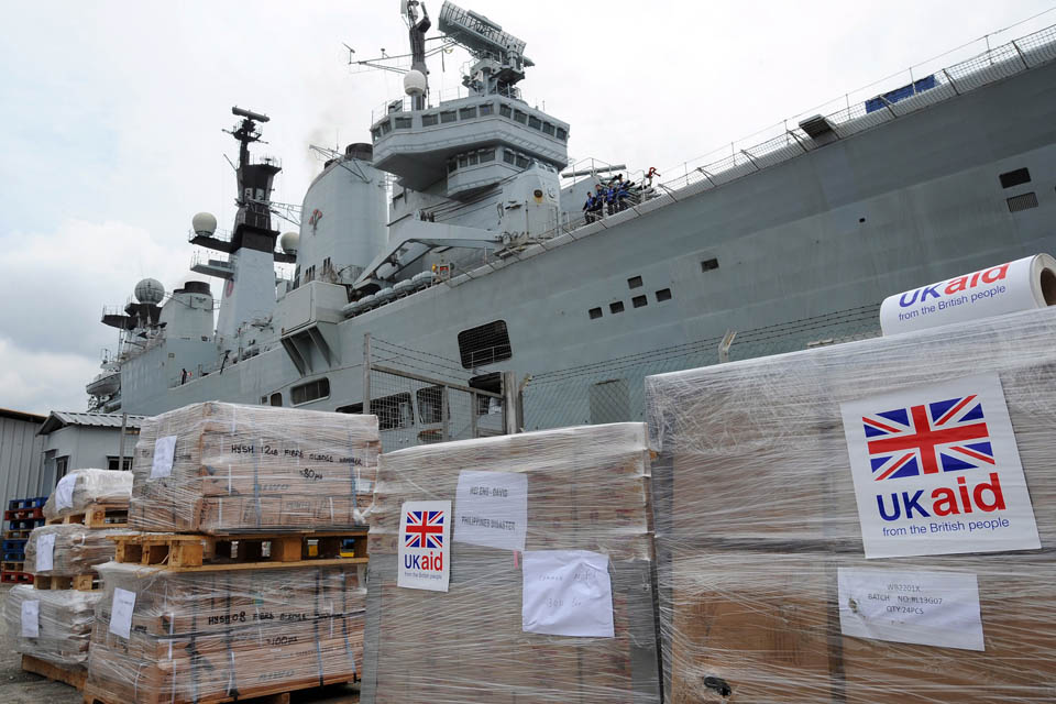 UK Aid humanitarian relief supplies on the dockside in Singapore