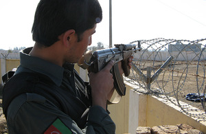 An Afghan National Policeman