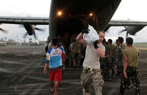 Humanitarian relief supplies are unloaded from an RAF C-130 aircraft [Picture: Crown copyright]