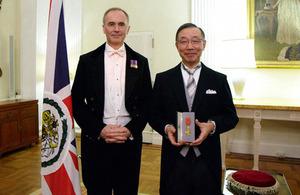 Mr Shunichi Sugioka and Tim Hitchens, British Ambassador to Japan