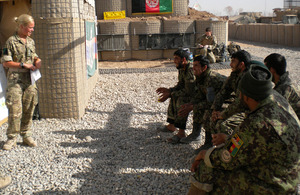 Lieutenant Claire Westerman conducts a lesson for Afghan soldiers