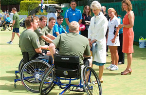 Her Royal Highness The Duchess of Gloucester chats to injured servicemen at RAF Halton
