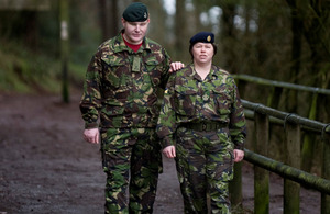 Rifleman Paul Jacobs with Warrant Officer Julie Coombes