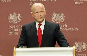 JK užsienio reikalų sekretorius William Hague