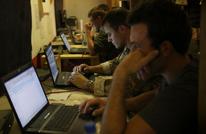 Royal Marines keep in touch with their families and friends over the internet from Forward Operating Base Gibraltar in Helmand province, southern Afghanistan (stock image)