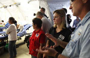 Justine Greening visits UK and Australian medics in Tacloban, Philippines. Picture: Russell Watkins/DFID