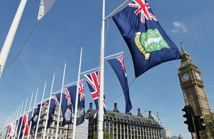 Overseas Territories flags in Parliament Square in June 2013.