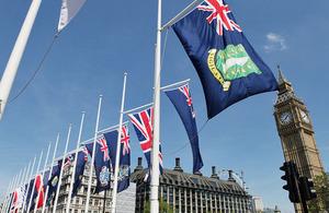 Overseas Territories flags in Parliament Square in June 2013.