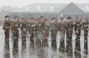 Junior Soldiers graduate in the snow at the Army Foundation College in Harrogate