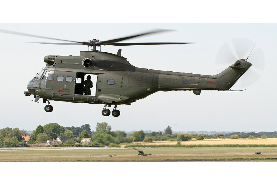 A Puma Mk2 helicopter takes off